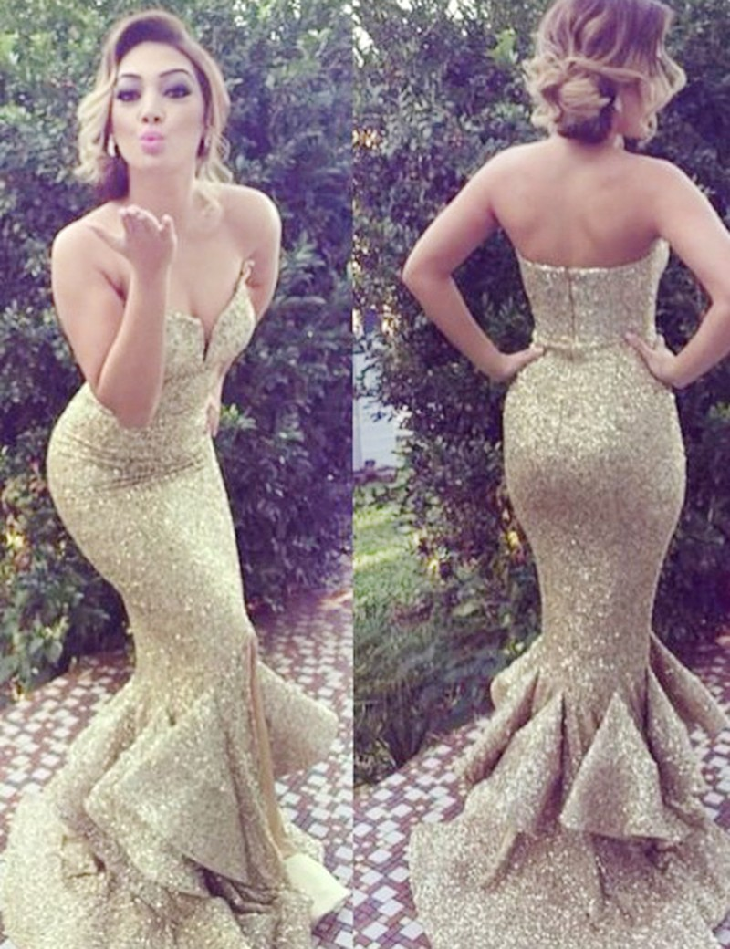 2cef9737 Mermaid Sweetheart Sweep Train Gold Sequin Prom Dress 2017 on Luulla